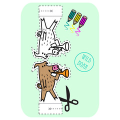 Coloring, Cut Out And Fold The Wild Boar!