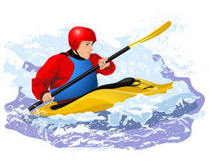 kayaker in blue life vest rawing in yellow boat