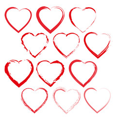 Collection of red hearts. Vector illustration
