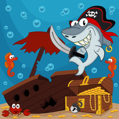 pirate shark - vector illustration
