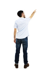 Back view of pointing young men in shirt and jeans