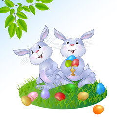 rabbit with Easter eggs.