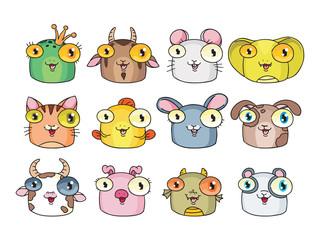 Set of cute cartoon animals and birds