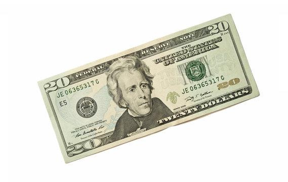 Twenty Dollar Bill on white