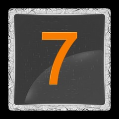 White and black glass icon with number seven