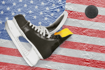 Puck, skates and American flag
