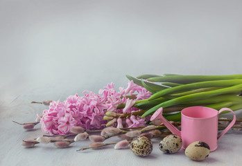 Pink hyacinth, willow twigs and quail eggs next to a  watering c