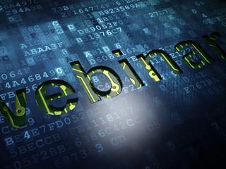 Education concept: Webinar on digital screen background