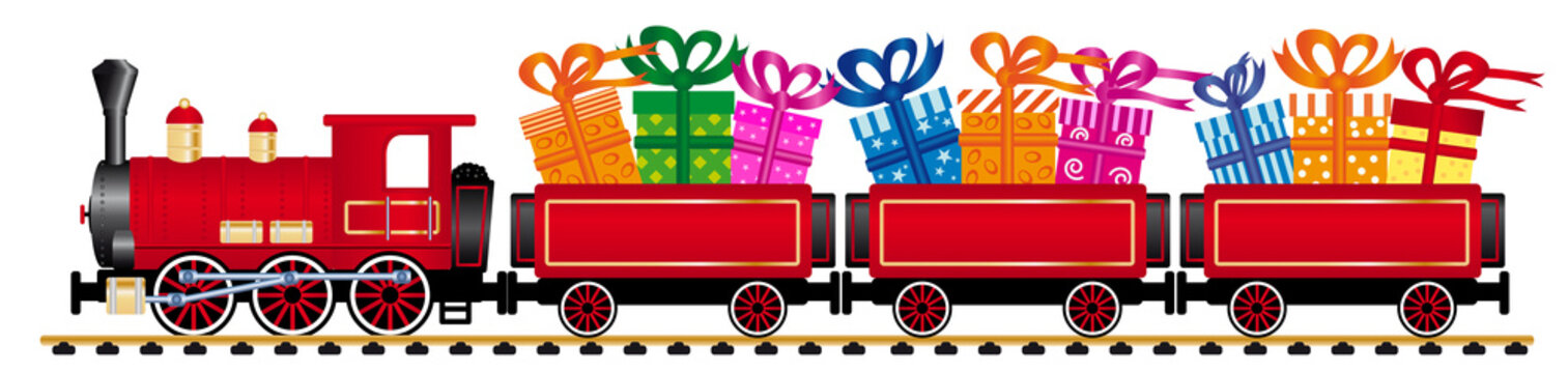 red steam locomotive with gifts