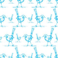 seamless of blue bird drawing pattern vector