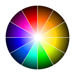 Color wheel with shade of colors