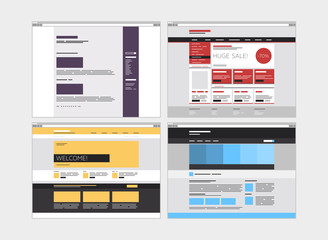 Abstract flat website set