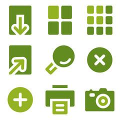 Image viewer web icons set, green series