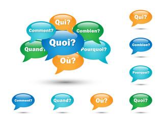 """BULLES """"QUESTIONS"""" (pourquoi comment combien quand quoi qui où)"""