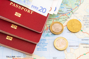 passport, map, money