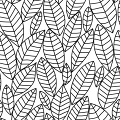 Black and white leaves seamless pattern, vector