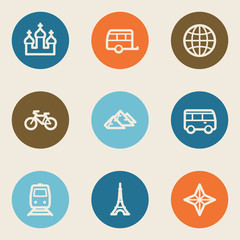 Travel web icon set 2, color circle buttons