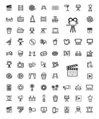 vector black movie icon set