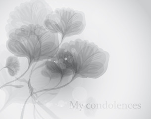 My condolences / Black-and-white funeral card with flowers