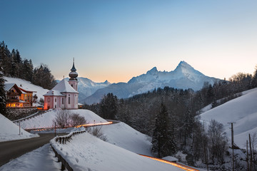 Maria Gern Church in Bavaria with Watzmann, Berchtesgaden, Germa Wall mural