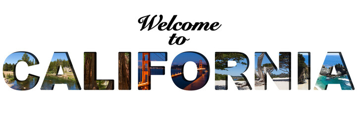 Welcome to California text picture collage