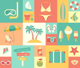 Wall Mural - Beach icons set. Vector illustration.