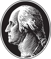 George Washington Portrait Vintage Gravure Style