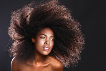Stunning Portrait of an African American Black Woman With Big Ha