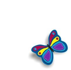 sitzender Schmetterling Applikation mit Steppnähten