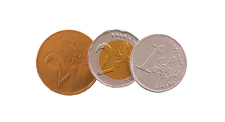 Euro currency, chocolate coins
