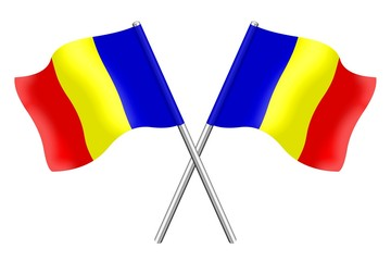 Two Rumanian flags