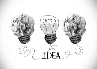 concept crumpled paper light bulb metaphor for idea