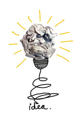 concept crumpled paper light bulb metaphor for idea