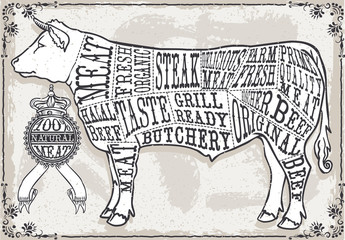 Chalk Charcoal Crayon Hand Drawing Vector Butchery Blackboard Butcher Shop Store Signage Set Antique Food Etching Typography Meat Cut Scheme. Vintage Etched Beef Drawn Chalkboard Pub Grill Black Board