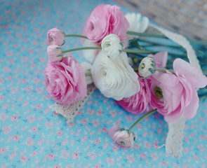 pink and white bouquet of peonies on a gentle background