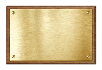 Wall Mural - golden plate or  nameboard in wooden frame isolated on white