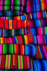 Mayan blankets textile designs on the market in Chichicastenango