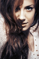Beautiful girl close up with long hair