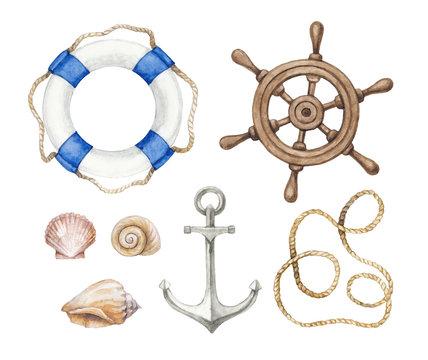 Set of a wattercolor nautical illustrations