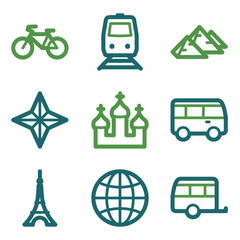 Travel web icons, green line set