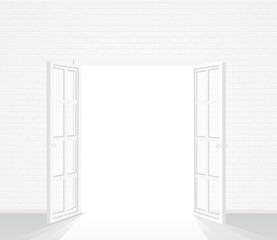 white brick door