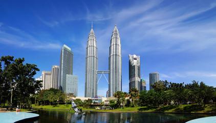 Aluminium Prints Kuala Lumpur Petronas Twin Towers at Kuala Lumpur, Malaysia.