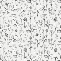 Wild flowers drawing. Seamless pattern