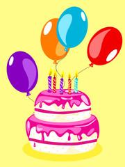Birthday cake card-pink