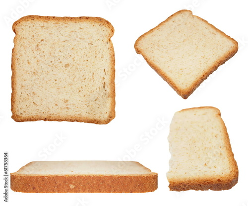 Slice Of Whole Wheat Bread Isolated On White Background
