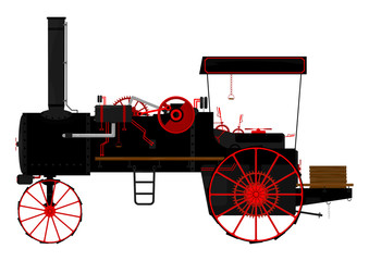 Silhouette of an old traction engine.