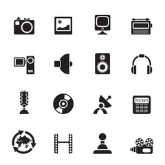 Silhouette Media and household  equipment icons