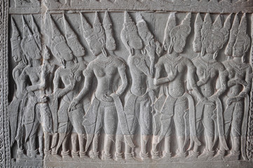 detail of stone carvings (Apsaras) in angkor wat