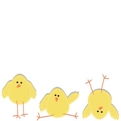 Three chicks on the bottom of the page in funny poses