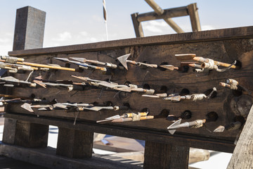Medieval siege weapons, crossbows, onagers, catapults and batter